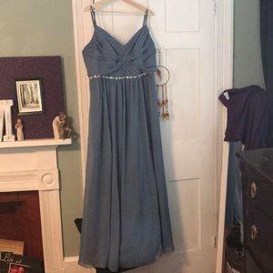 David's Bridal bridesmaid- Size 18- Steel Blue